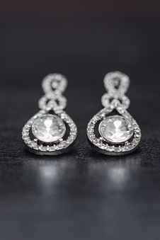 Free Close-Up Photo Of Diamond Earrings Stock Photo - 135195660
