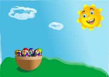 Free Basket With Easter Eggs Stock Image - 13527661