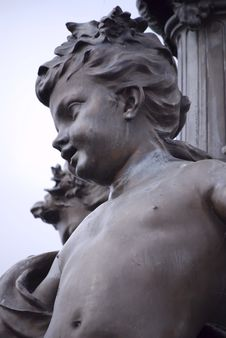 Parisian Boy Iron Sculpture Royalty Free Stock Photos