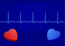 Free Heart& Blue Electrocardiogram Royalty Free Stock Images - 13536169