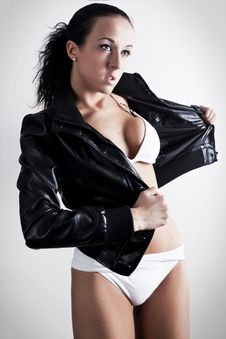 Leather Jacket And Bikini Royalty Free Stock Photo