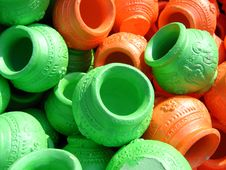 Coloured Clay Pots Stock Image