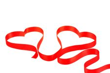 Two Hearts From Red Ribbon Royalty Free Stock Photo