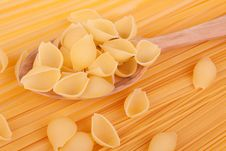 Italian Pasta In A Wood Spoon Royalty Free Stock Photos