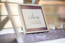 Free Welcome Please Sign Our Guestbook Sign Stock Image - 135496771