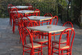 Free Still Life With Red Chairs And Tables Stock Photos - 13550683