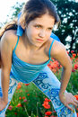 Free Portrait Teen Girl With Poppy Stock Photography - 13551542