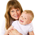 Free Happy Mother With Her Litle Son Over White Stock Photo - 13559820