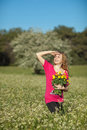 Free Beautiful Young Woman Standing In Blooming Meadow Royalty Free Stock Images - 13559879