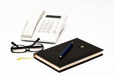 Free Telephone, Glasses, Agenda And Pen Isolated On Whi Royalty Free Stock Photo - 13550125