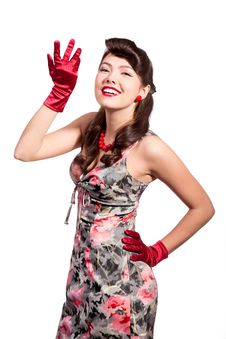 Free Pin-up Girl With Red Gloves Royalty Free Stock Photos - 13550298