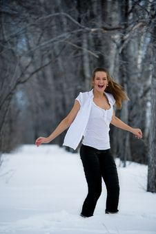 Free Fashion Model In Winter Forest Royalty Free Stock Image - 13550986