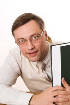 Free Handsome Businessman With A Book Royalty Free Stock Image - 13551106