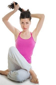 Young Woman Preparing For Doing Fitness Exercise Stock Photography