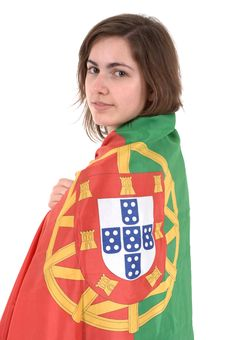Free Portugal Soccer Fan, Isolated On White Background Royalty Free Stock Photography - 13551167