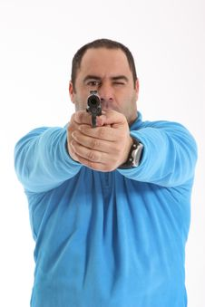 Free Cop With Pistol Royalty Free Stock Image - 13551306