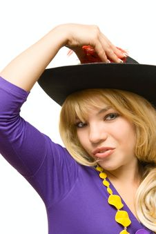 Free Portrait Pretty Girl In Hat Royalty Free Stock Photos - 13551568