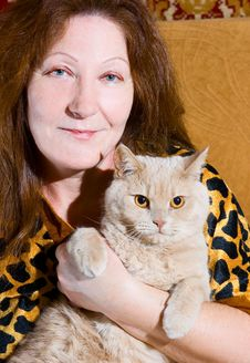 Free Portrait Of Woman And Cat Stock Photos - 13551593