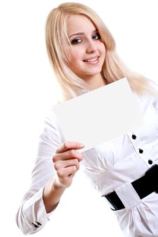 Free Young Business Woman With Business Card Royalty Free Stock Images - 13552119