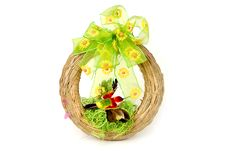 Free Easter Wreath With Green Ribbon And Red Bird Stock Photography - 13552182