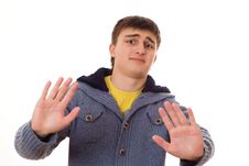 Disgruntled Teenager In A Blue Jacket Stock Images