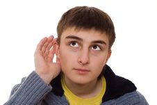 Free Beautiful Teenager  Listens On A White Stock Image - 13552551
