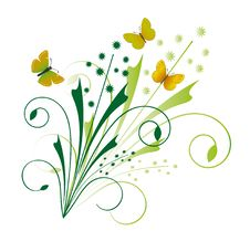 Floral Ornament With Butterflies Stock Photos