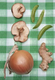 Free Group Of Vegetables On A Green Checkered Cloth Stock Photography - 13552842