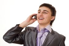 Handsome Businessman Talking On The Phone Stock Image