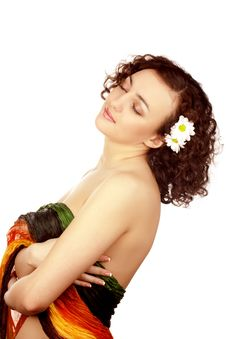 Free Beautiful Woman With Camomile Flower Stock Photo - 13554300