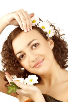 Free Beautiful Woman With Camomile Flower Royalty Free Stock Photo - 13554335