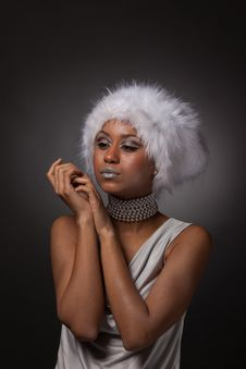 Afro-american Woman Portrait In Big White Hat Royalty Free Stock Photo