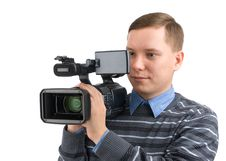 Man With Digital Video Camera Royalty Free Stock Photos