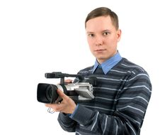 Man With Digital Video Camera Royalty Free Stock Images