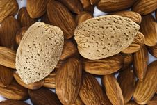 Group Of Almonds With And Without Shells Stock Photo