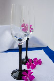 Free Two Empty Wine Glasses Stock Images - 13556754