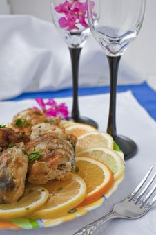 Pieces Of The Fried Fish Stock Images