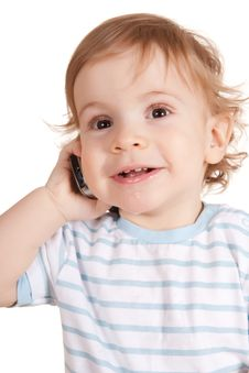 Free Little Boy Talking On The Phone. Stock Photo - 13558160
