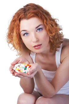 Free Woman With Pill Stock Photography - 13559292