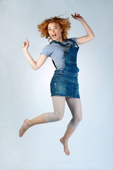 Free Happy Girl Jumping Royalty Free Stock Image - 13559296