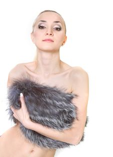Free Beautiful Woman In Fur Over White Stock Image - 13559831