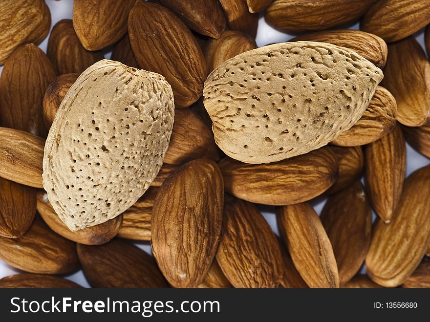 Group of Almonds with and without shells