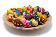 Free Lots Of Easter Eggs On Wooden Plate Stock Photo - 13560420