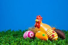 Few Easter Eggs And Hen On Cress Royalty Free Stock Photo