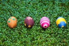Four Easter Eggs On Cress Royalty Free Stock Photo