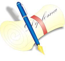 Free Pen And Diploma Royalty Free Stock Image - 13561696