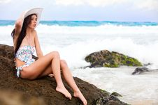 Free Attractive Young Woman Wearing A Swimsuit And A Ha Stock Image - 13561941