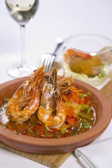 Free Sizzling Prawns With Condiments And Wine Stock Photos - 13562623
