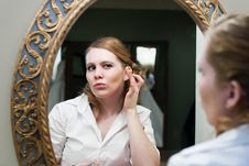 Free Bride Applying Makeup Wedding Day Stock Photo - 13562630