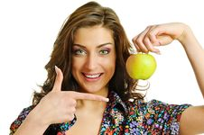 Free Woman With Apple Royalty Free Stock Photography - 13562677